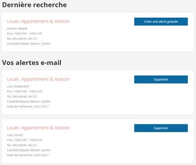 Screenshot alertes e-mail