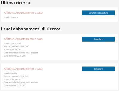 Screenshot abbonamenti di ricerca